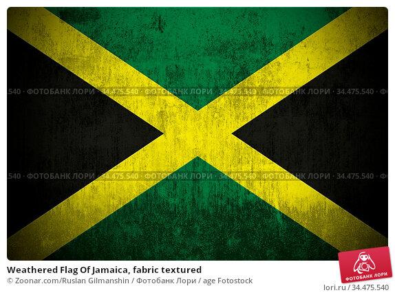 Weathered Flag Of Jamaica, fabric textured. Стоковое фото, фотограф Zoonar.com/Ruslan Gilmanshin / age Fotostock / Фотобанк Лори