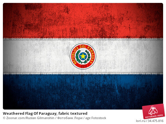 Weathered Flag Of Paraguay, fabric textured. Стоковое фото, фотограф Zoonar.com/Ruslan Gilmanshin / age Fotostock / Фотобанк Лори