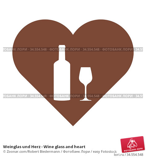 Weinglas und Herz - Wine glass and heart. Стоковое фото, фотограф Zoonar.com/Robert Biedermann / easy Fotostock / Фотобанк Лори