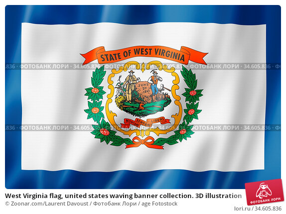 West Virginia flag, united states waving banner collection. 3D illustration. Стоковое фото, фотограф Zoonar.com/Laurent Davoust / age Fotostock / Фотобанк Лори