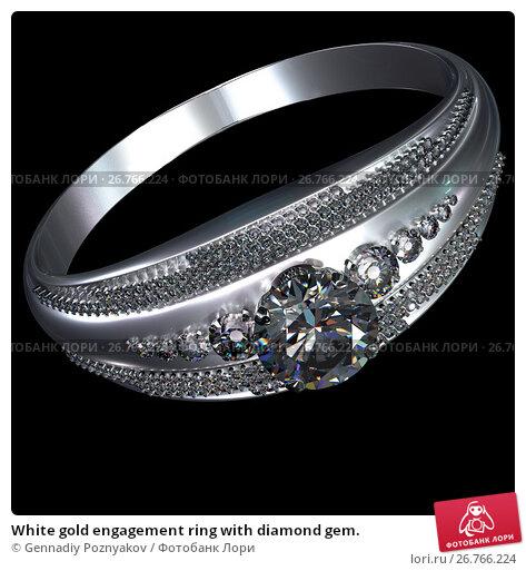 White gold engagement ring with diamond gem., иллюстрация № 26766224 (c) Gennadiy Poznyakov / Фотобанк Лори