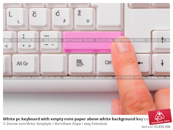Купить «White pc keyboard with empty note paper above white background key copy space», фото № 33835936, снято 30 мая 2020 г. (c) easy Fotostock / Фотобанк Лори