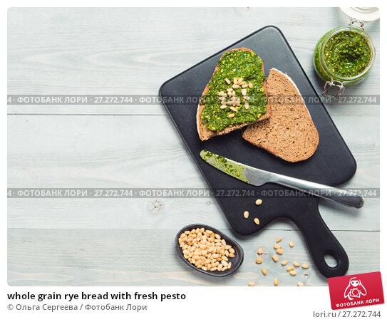 Купить «whole grain rye bread with fresh pesto», фото № 27272744, снято 30 октября 2017 г. (c) Ольга Сергеева / Фотобанк Лори