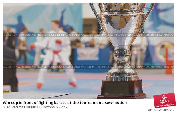 Купить «Win cup in front of fighting karate at the tournament, sow-motion», фото № 28304512, снято 15 декабря 2018 г. (c) Константин Шишкин / Фотобанк Лори