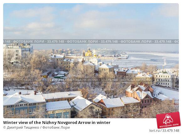 Winter view of the Nizhny Novgorod Arrow in winter (2018 год). Стоковое фото, фотограф Дмитрий Тищенко / Фотобанк Лори