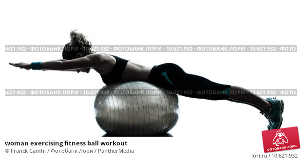woman exercising fitness ball workout  . Стоковое фото, фотограф Franck Camhi / PantherMedia / Фотобанк Лори