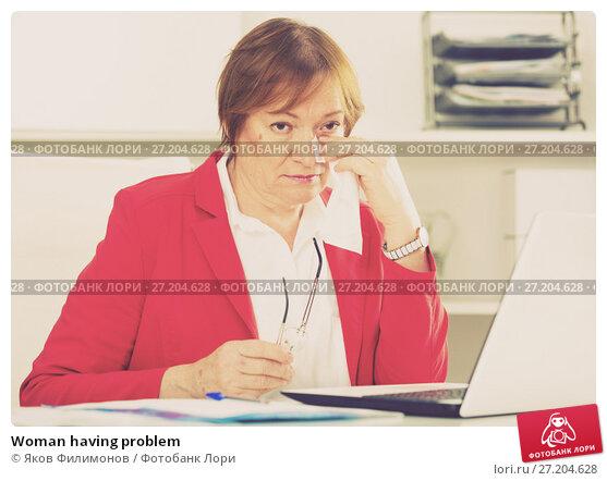Купить «Woman having problem», фото № 27204628, снято 15 декабря 2018 г. (c) Яков Филимонов / Фотобанк Лори