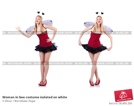 Woman in bee costume isolated on white. Стоковое фото, фотограф Elnur / Фотобанк Лори