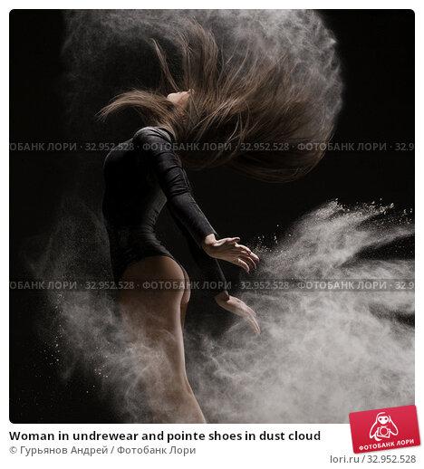 Woman in undrewear and pointe shoes in dust cloud. Стоковое фото, фотограф Гурьянов Андрей / Фотобанк Лори