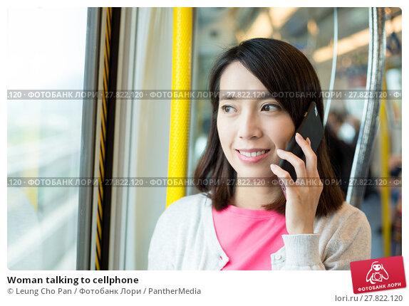 Купить «Woman talking to cellphone», фото № 27822120, снято 22 февраля 2018 г. (c) PantherMedia / Фотобанк Лори