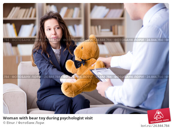 Купить «Woman with bear toy during psychologist visit», фото № 24844784, снято 7 декабря 2016 г. (c) Elnur / Фотобанк Лори