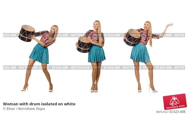 Купить «Woman with drum isolated on white», фото № 33623408, снято 21 июля 2015 г. (c) Elnur / Фотобанк Лори