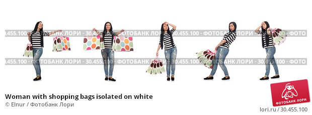 Woman with shopping bags isolated on white. Стоковое фото, фотограф Elnur / Фотобанк Лори