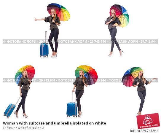 Купить «Woman with suitcase and umbrella isolated on white», фото № 29743944, снято 19 февраля 2019 г. (c) Elnur / Фотобанк Лори