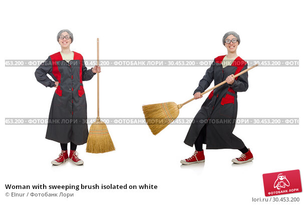 Woman with sweeping brush isolated on white. Стоковое фото, фотограф Elnur / Фотобанк Лори