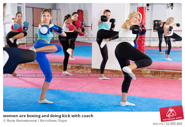 women are boxing and doing kick with coach. Стоковое фото, фотограф Яков Филимонов / Фотобанк Лори