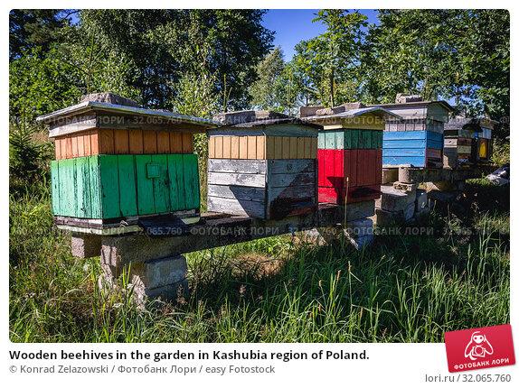 Wooden beehives in the garden in Kashubia region of Poland. Стоковое фото, фотограф Konrad Zelazowski / easy Fotostock / Фотобанк Лори