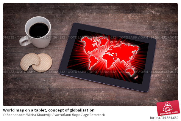 World map on a tablet, concept of globalisation. Стоковое фото, фотограф Zoonar.com/Micha Klootwijk / age Fotostock / Фотобанк Лори