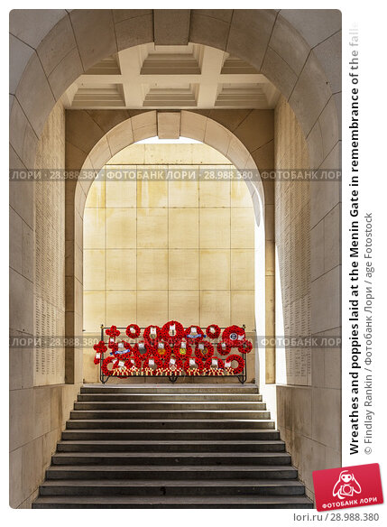 Купить «Wreathes and poppies laid at the Menin Gate in remembrance of the fallen and never found during the first world war, Menin gate, Ypres, Belgium.», фото № 28988380, снято 5 июля 2018 г. (c) age Fotostock / Фотобанк Лори