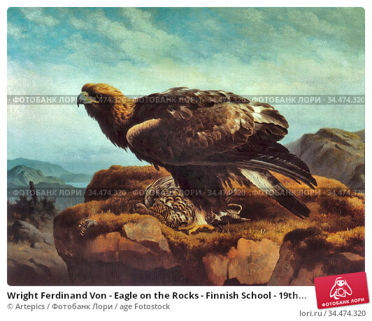 Wright Ferdinand Von - Eagle on the Rocks - Finnish School - 19th... Редакционное фото, фотограф Artepics / age Fotostock / Фотобанк Лори