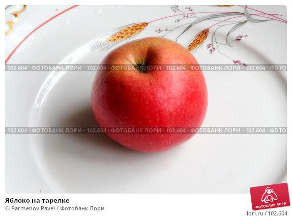 Яблоко на тарелке, фото № 102604, снято 28 февраля 2017 г. (c) Parmenov Pavel / Фотобанк Лори