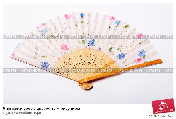 Японский веер с цветочным рисунком. Стоковое фото, фотограф Jalin / Фотобанк Лори