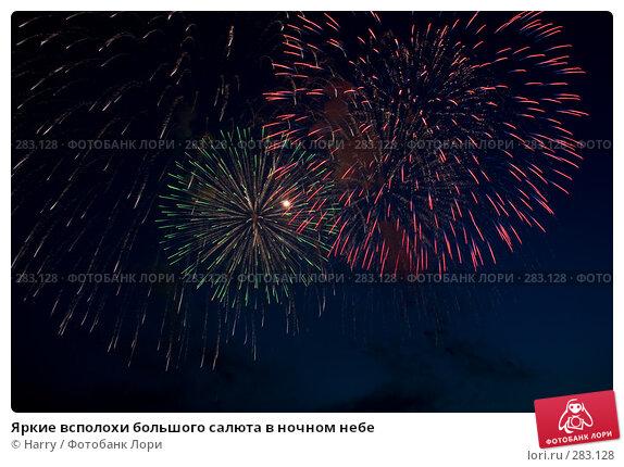 Яркие всполохи большого салюта в ночном небе, фото № 283128, снято 25 июля 2017 г. (c) Harry / Фотобанк Лори