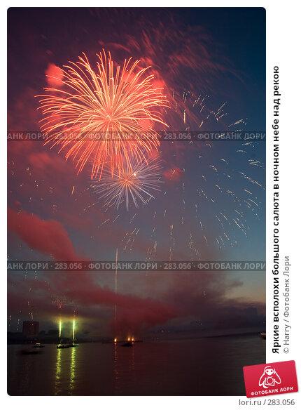 Яркие всполохи большого салюта в ночном небе над рекою, фото № 283056, снято 21 июля 2017 г. (c) Harry / Фотобанк Лори
