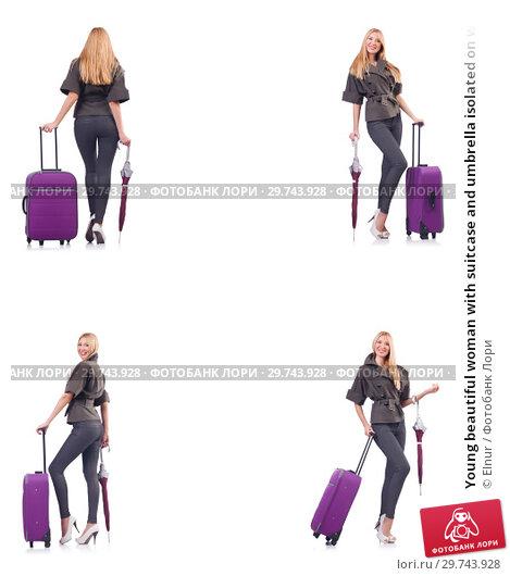 Купить «Young beautiful woman with suitcase and umbrella isolated on whi», фото № 29743928, снято 19 февраля 2019 г. (c) Elnur / Фотобанк Лори
