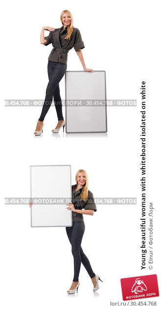 Young beautiful woman with whiteboard isolated on white. Стоковое фото, фотограф Elnur / Фотобанк Лори