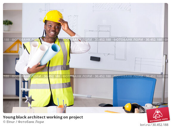 Young black architect working on project. Стоковое фото, фотограф Elnur / Фотобанк Лори