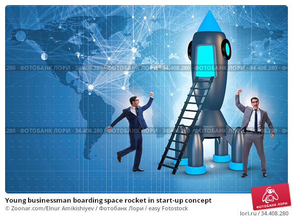 Young businessman boarding space rocket in start-up concept. Стоковое фото, фотограф Zoonar.com/Elnur Amikishiyev / easy Fotostock / Фотобанк Лори