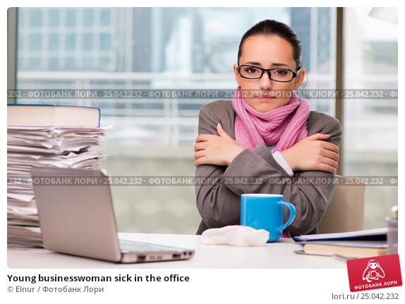 Купить «Young businesswoman sick in the office», фото № 25042232, снято 26 сентября 2016 г. (c) Elnur / Фотобанк Лори