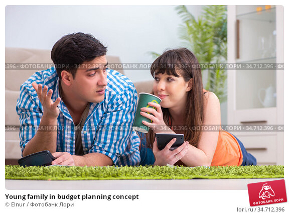 Young family in budget planning concept. Стоковое фото, фотограф Elnur / Фотобанк Лори
