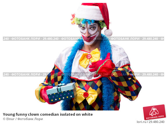 Купить «Young funny clown comedian isolated on white», фото № 29480240, снято 20 июля 2018 г. (c) Elnur / Фотобанк Лори