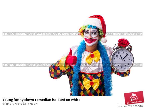 Купить «Young funny clown comedian isolated on white», фото № 29526516, снято 20 июля 2018 г. (c) Elnur / Фотобанк Лори