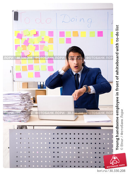 Купить «Young handsome employee in front of whiteboard with to-do list», фото № 30330208, снято 16 октября 2018 г. (c) Elnur / Фотобанк Лори