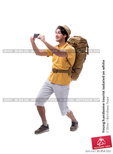 Young handsome tourist isolated on white. Стоковое фото, фотограф Elnur / Фотобанк Лори