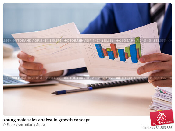 Young male sales analyst in growth concept. Стоковое фото, фотограф Elnur / Фотобанк Лори