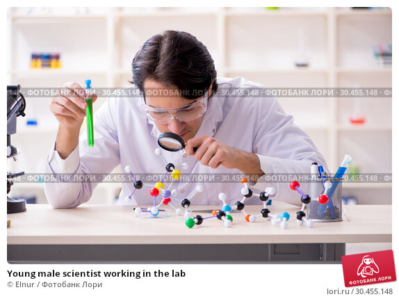 Young male scientist working in the lab. Стоковое фото, фотограф Elnur / Фотобанк Лори
