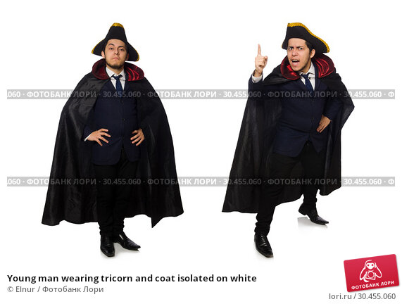 Young man wearing tricorn and coat isolated on white. Стоковое фото, фотограф Elnur / Фотобанк Лори
