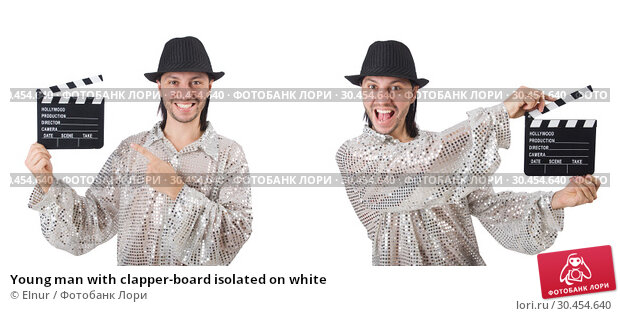 Young man with clapper-board isolated on white. Стоковое фото, фотограф Elnur / Фотобанк Лори