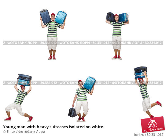 Купить «Young man with heavy suitcases isolated on white», фото № 30331012, снято 21 апреля 2019 г. (c) Elnur / Фотобанк Лори