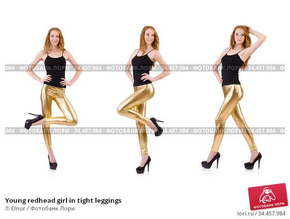 Young redhead girl in tight leggings. Стоковое фото, фотограф Elnur / Фотобанк Лори