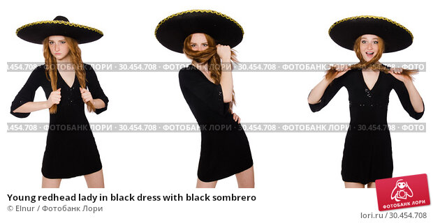 Young redhead lady in black dress with black sombrero. Стоковое фото, фотограф Elnur / Фотобанк Лори