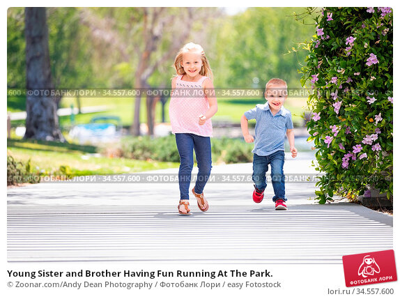 Young Sister and Brother Having Fun Running At The Park. Стоковое фото, фотограф Zoonar.com/Andy Dean Photography / easy Fotostock / Фотобанк Лори