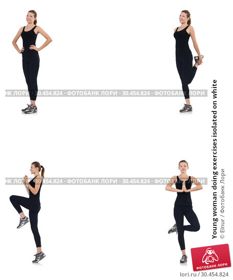 Young woman doing exercises isolated on white. Стоковое фото, фотограф Elnur / Фотобанк Лори