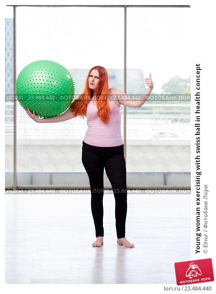 Купить «Young woman exercising with swiss ball in health concept», фото № 23484440, снято 17 июня 2016 г. (c) Elnur / Фотобанк Лори
