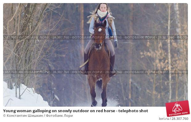 Купить «Young woman galloping on snowly outdoor on red horse - telephoto shot», фото № 28307760, снято 21 апреля 2018 г. (c) Константин Шишкин / Фотобанк Лори