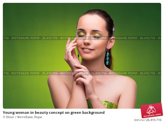 Купить «Young woman in beauty concept on green background», фото № 26410716, снято 27 сентября 2016 г. (c) Elnur / Фотобанк Лори